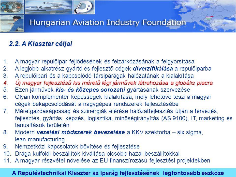 2.2. A Klaszter céljai A magyar repülőipar fejlődésének és felzárkózásának a felgyorsítása.