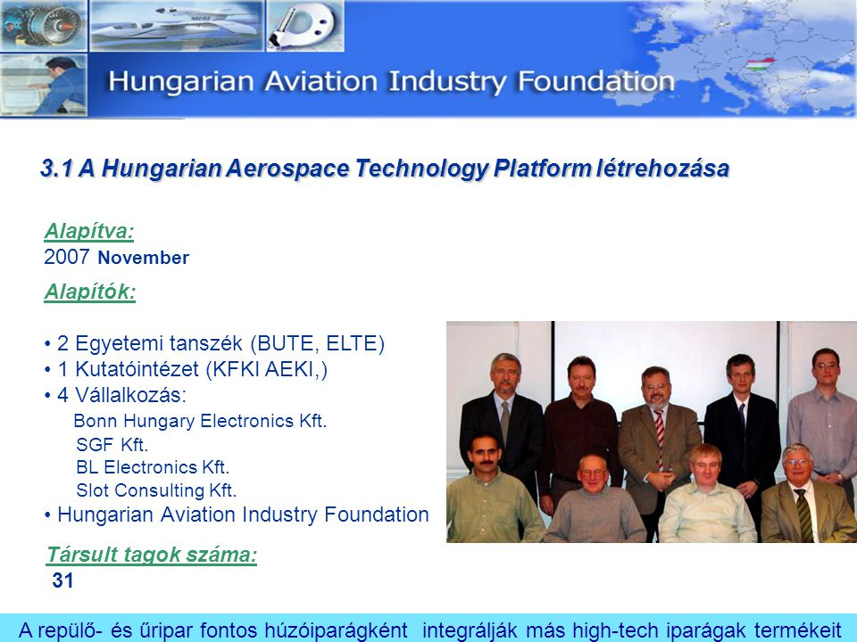 3.1 A Hungarian Aerospace Technology Platform létrehozása