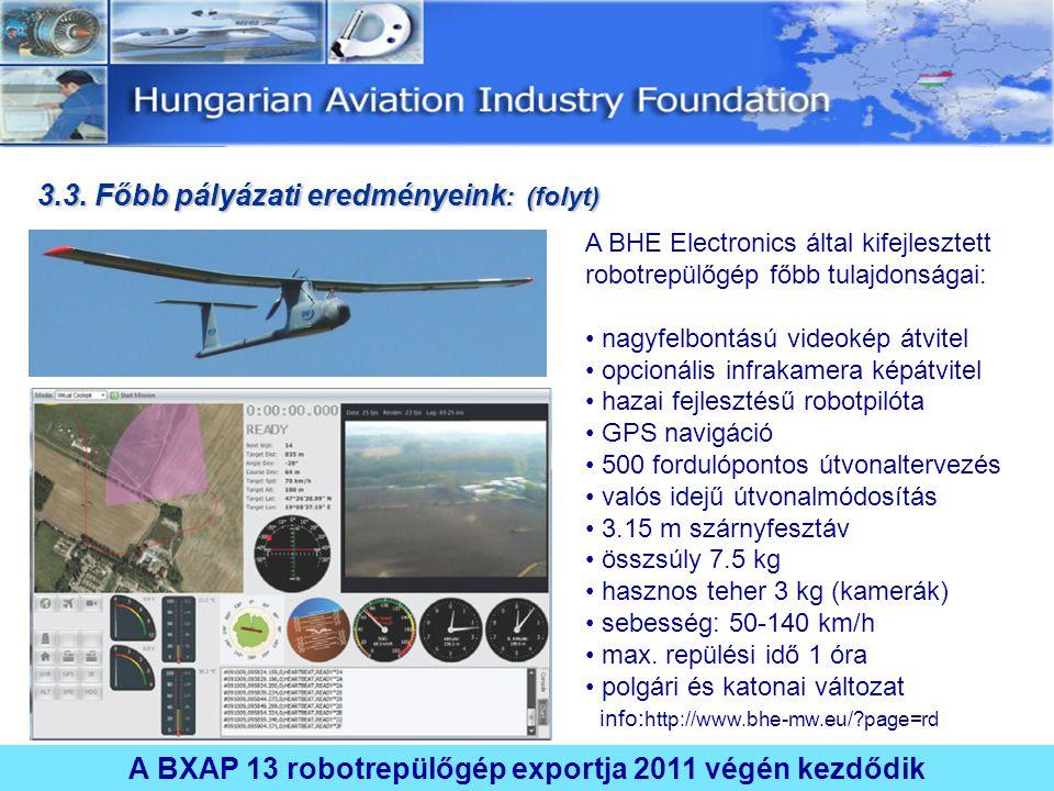 A BXAP 13 robotrepülőgép exportja 2011 végén kezdődik