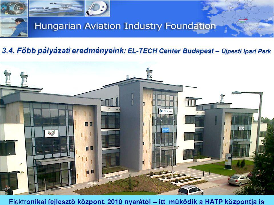3.4. Főbb pályázati eredményeink: EL-TECH Center Budapest – Újpesti Ipari Park