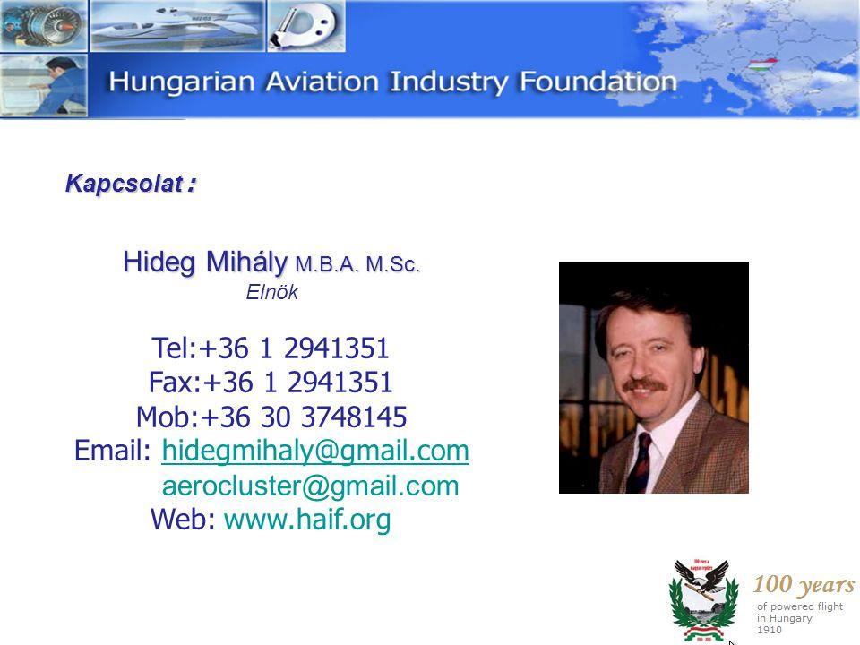 Hideg Mihály M.B.A. M.Sc. Tel:+36 1 2941351 Fax:+36 1 2941351