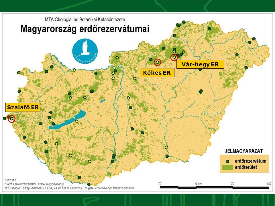 Kutatási stratégia A 63 erdőrezervátumból: eseménykövetés (EK) – 58 ER