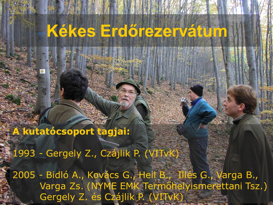 Kékes Erdőrezervátum A kutatócsoport tagjai: