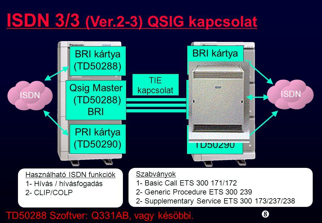 ISDN 3/3 (Ver.2-3) QSIG kapcsolat