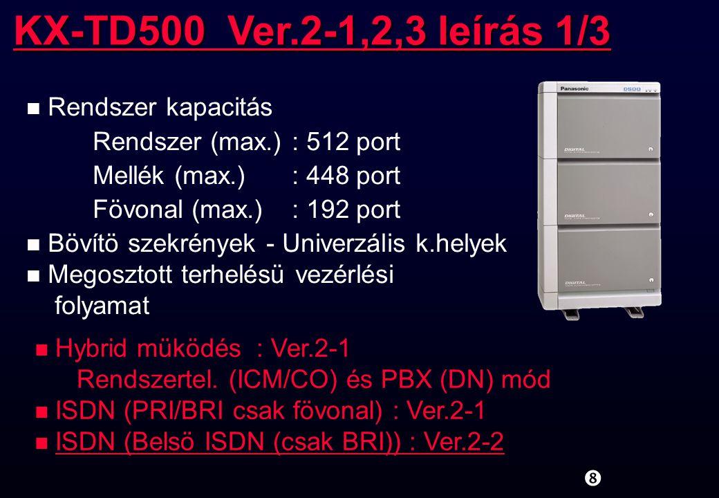 KX-TD500 Ver.2-1,2,3 leírás 1/3 Rendszer kapacitás