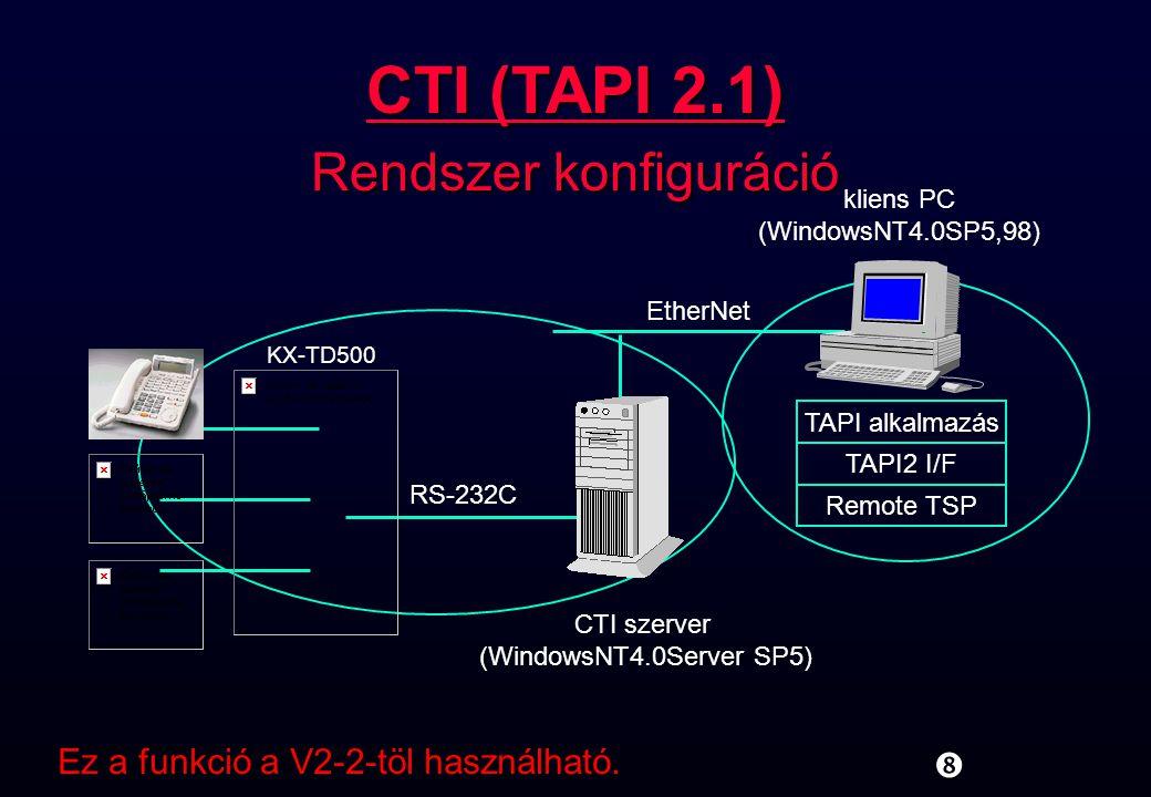 CTI (TAPI 2.1) Rendszer konfiguráció