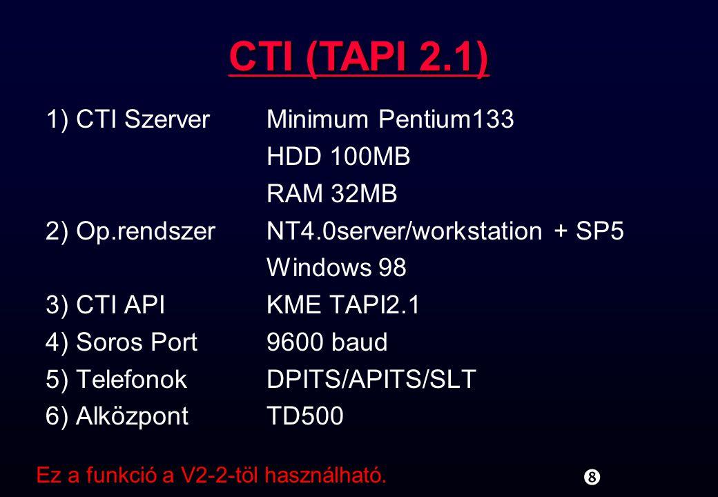 CTI (TAPI 2.1) 1) CTI Szerver Minimum Pentium133 HDD 100MB RAM 32MB