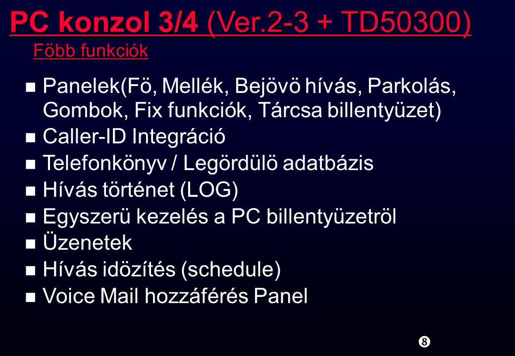 PC konzol 3/4 (Ver.2-3 + TD50300) Föbb funkciók. Panelek(Fö, Mellék, Bejövö hívás, Parkolás, Gombok, Fix funkciók, Tárcsa billentyüzet)