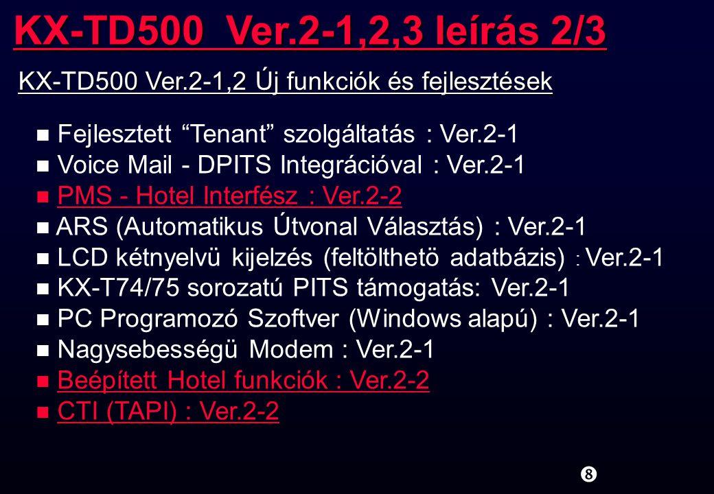 KX-TD500 Ver.2-1,2,3 leírás 2/3 KX-TD500 Ver.2-1,2 Új funkciók és fejlesztések. Fejlesztett Tenant szolgáltatás : Ver.2-1.