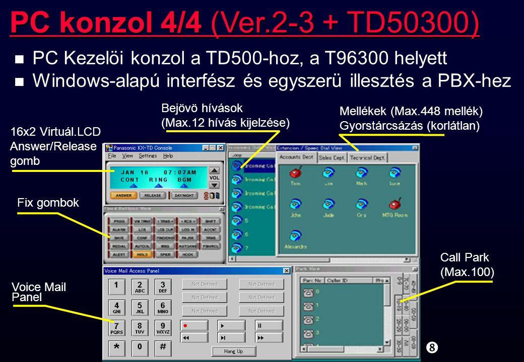 PC konzol 4/4 (Ver.2-3 + TD50300) PC Kezelöi konzol a TD500-hoz, a T96300 helyett. Windows-alapú interfész és egyszerü illesztés a PBX-hez.