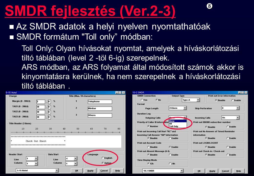 SMDR fejlesztés (Ver.2-3)