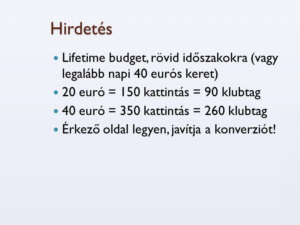 Hirdetés Lifetime budget, rövid időszakokra (vagy legalább napi 40 eurós keret) 20 euró = 150 kattintás = 90 klubtag.