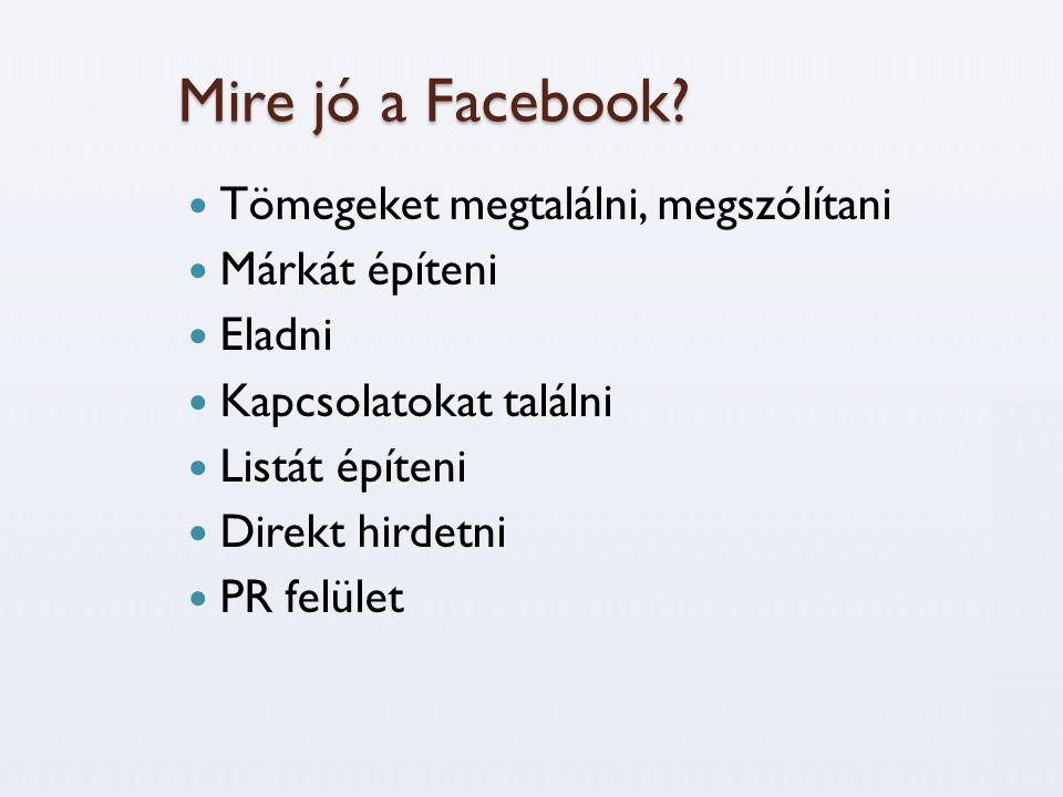 Mire jó a Facebook Tömegeket megtalálni, megszólítani Márkát építeni