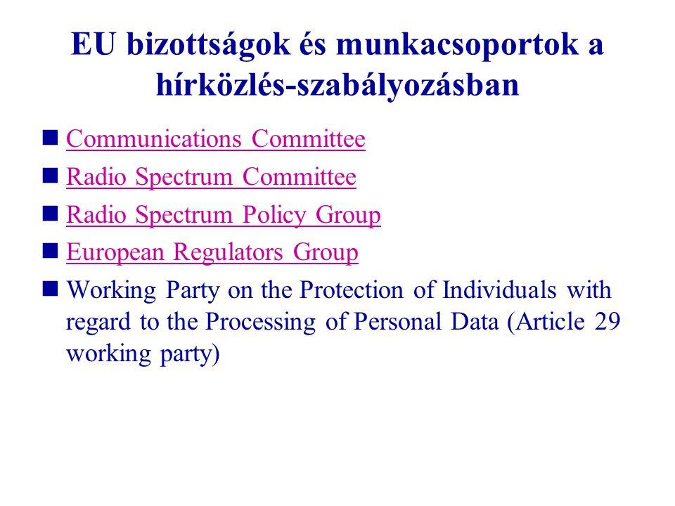EU bizottságok és munkacsoportok a hírközlés-szabályozásban