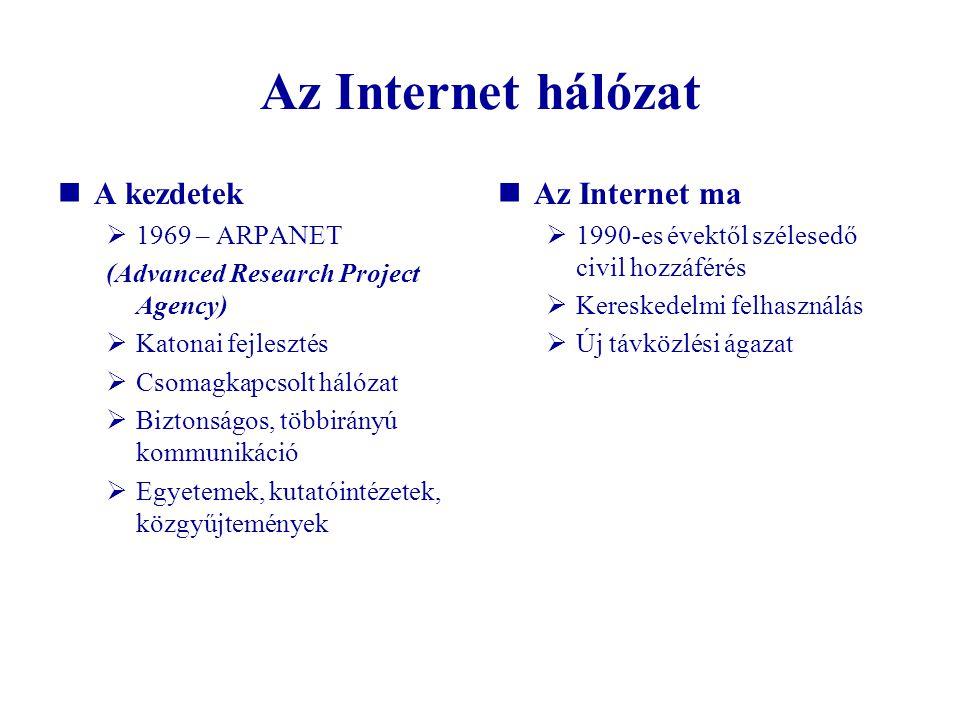 Az Internet hálózat A kezdetek Az Internet ma 1969 – ARPANET