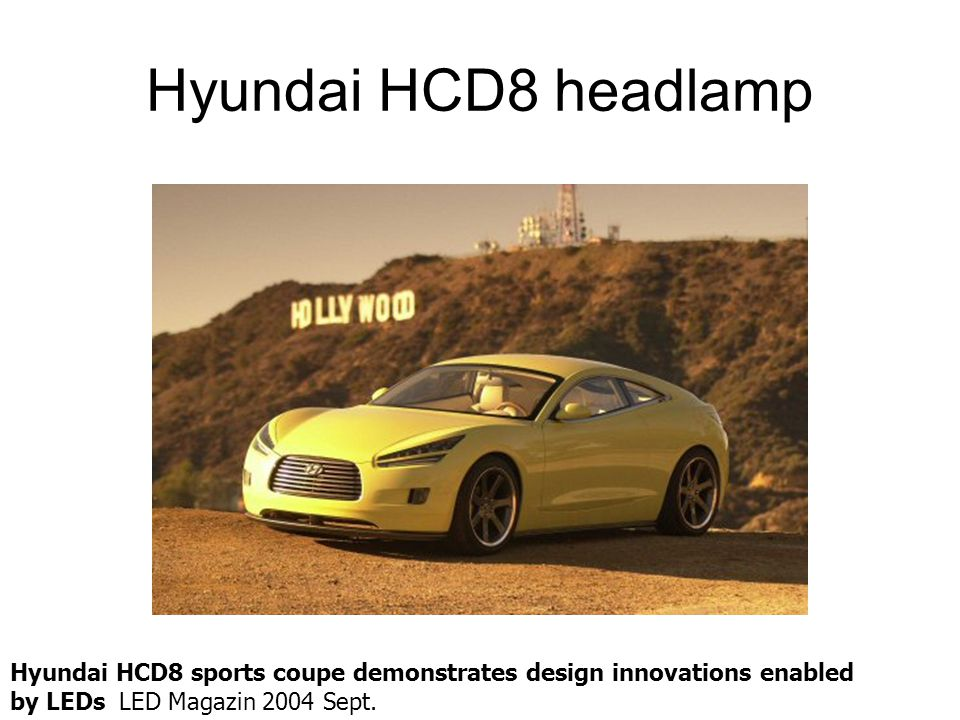 Hyundai HCD8 headlamp Hyundai HCD8 sports coupe demonstrates design innovations enabled by LEDs LED Magazin 2004 Sept.