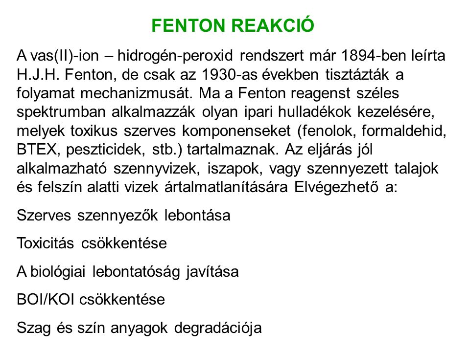 FENTON REAKCIÓ