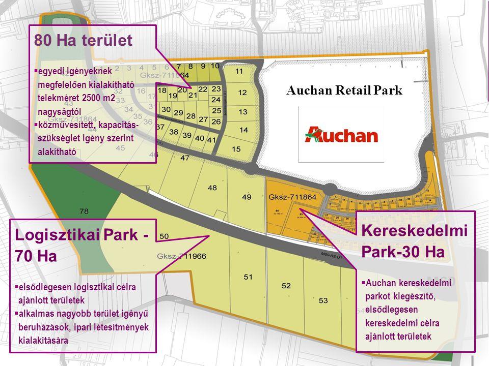 80 Ha terület Kereskedelmi Park-30 Ha Logisztikai Park - 70 Ha