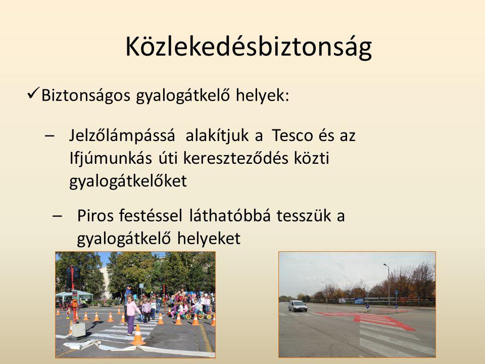 Közlekedésbiztonság Biztonságos gyalogátkelő helyek: