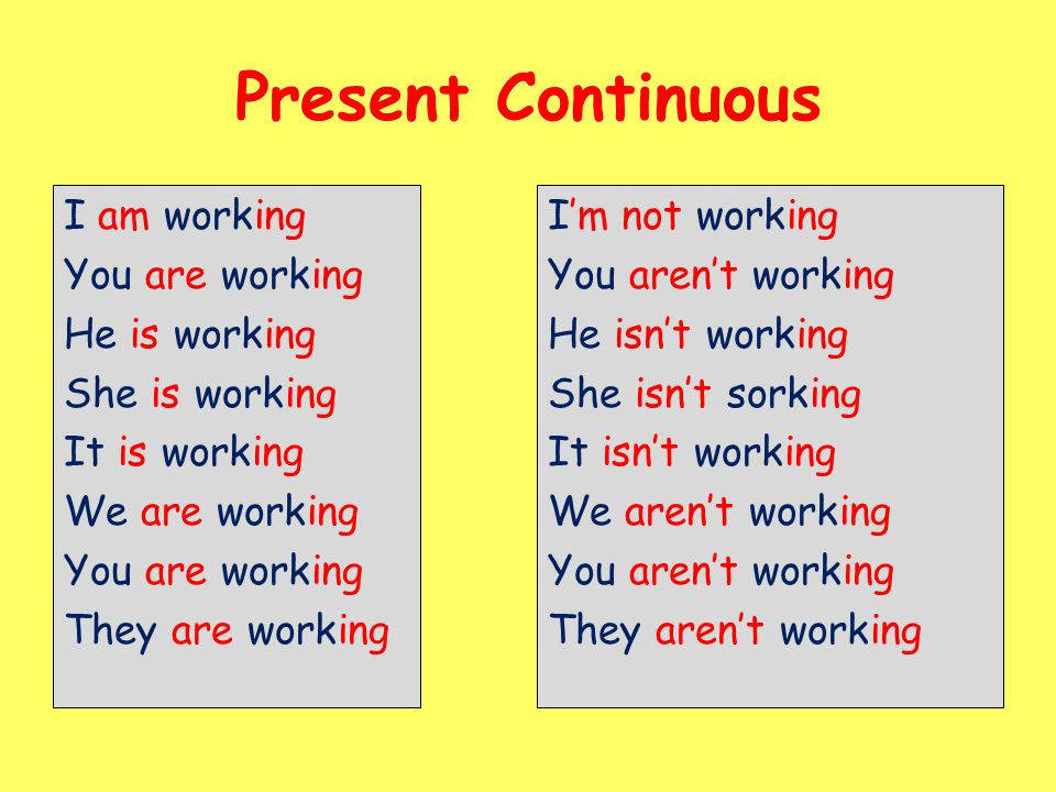 Present Continuous I am working You are working He is working She is working It is working We are working They are working