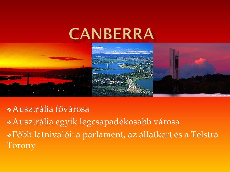 Canberra Ausztrália fővárosa Ausztrália egyik legcsapadékosabb városa