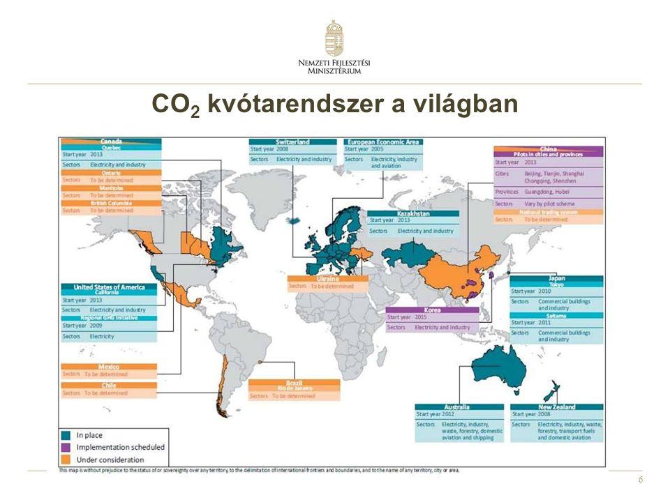 CO2 kvótarendszer a világban