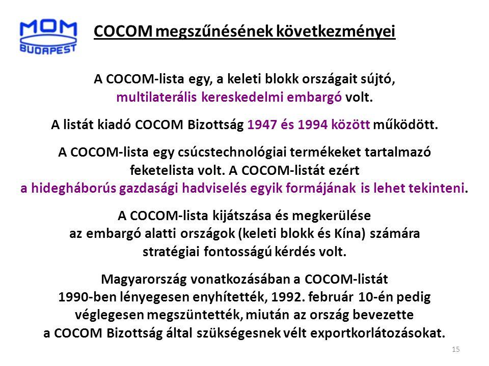 COCOM megszűnésének következményei