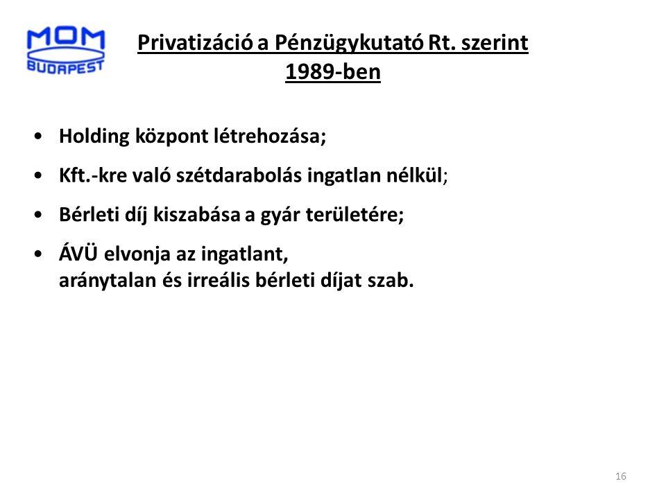 Privatizáció a Pénzügykutató Rt. szerint