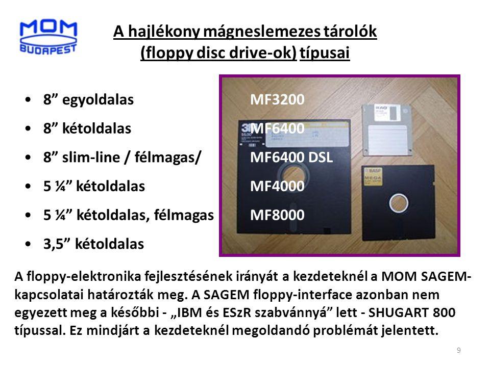 A hajlékony mágneslemezes tárolók (floppy disc drive-ok) típusai