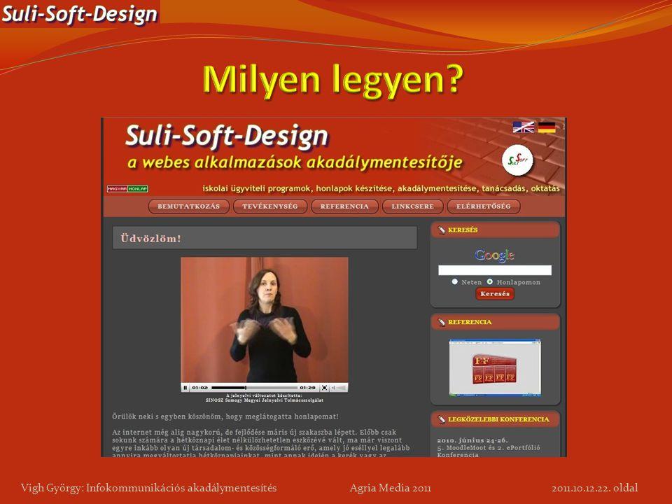 Milyen legyen Vigh György: Infokommunikációs akadálymentesítés Agria Media 2011.