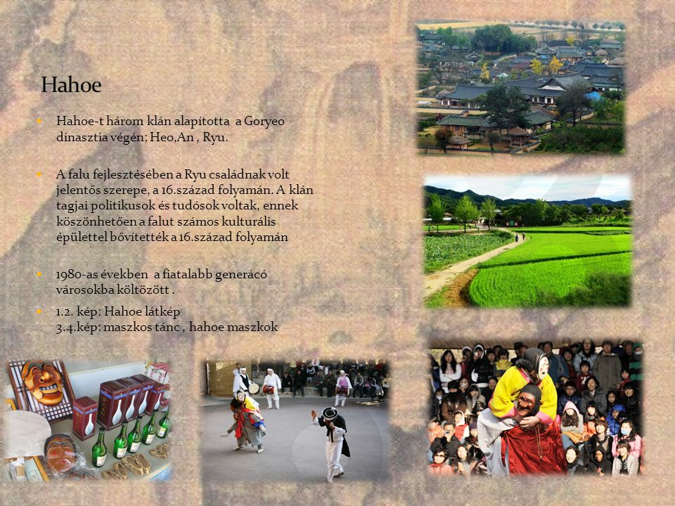 Hahoe Hahoe-t három klán alapította a Goryeo dinasztia végén; Heo,An , Ryu.