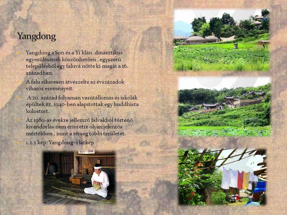 Yangdong Yangdong a Son és a Yi klán .dinasztikus egyesülésének köszönhetően , egyszerű településből egy faluvá nőtte ki magát a 16. században.