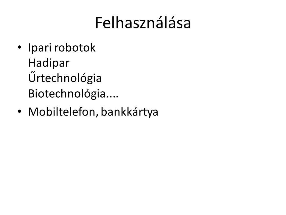 Felhasználása Ipari robotok Hadipar Űrtechnológia Biotechnológia....