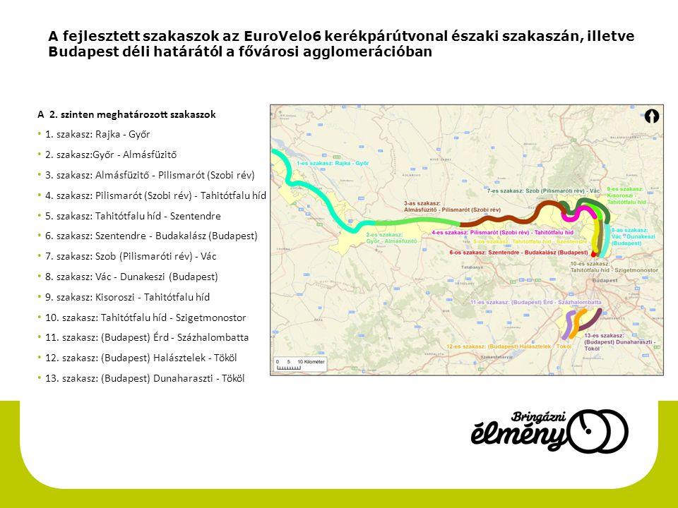 A fejlesztett szakaszok az EuroVelo6 kerékpárútvonal északi szakaszán, illetve Budapest déli határától a fővárosi agglomerációban