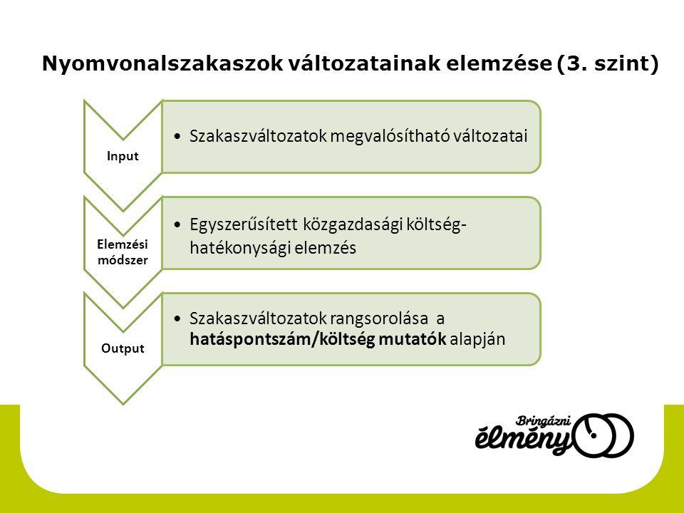 Nyomvonalszakaszok változatainak elemzése (3. szint)