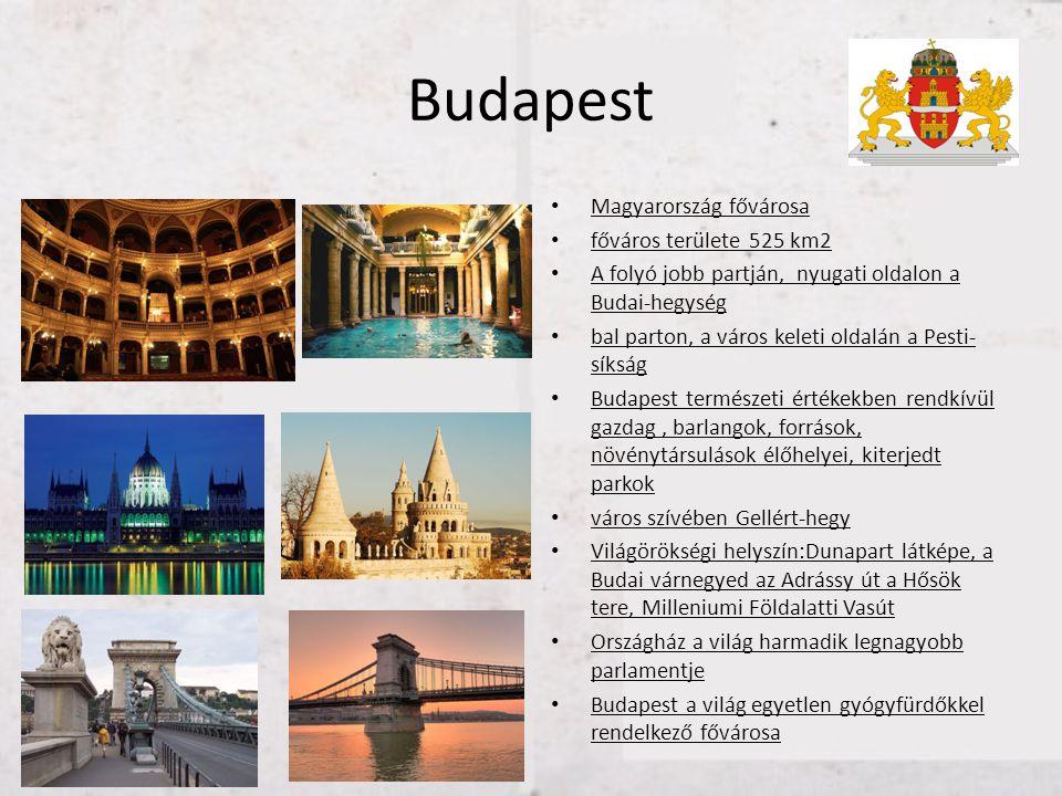 Budapest Magyarország fővárosa főváros területe 525 km2