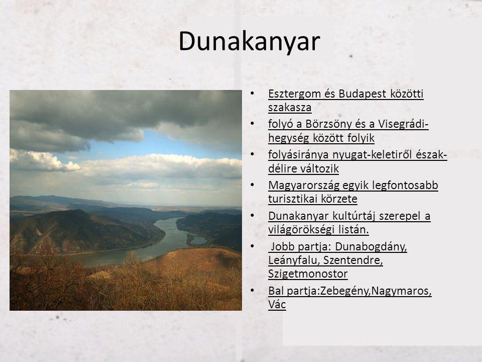Dunakanyar Esztergom és Budapest közötti szakasza