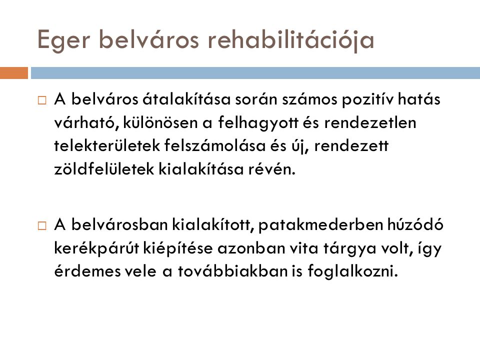 Eger belváros rehabilitációja