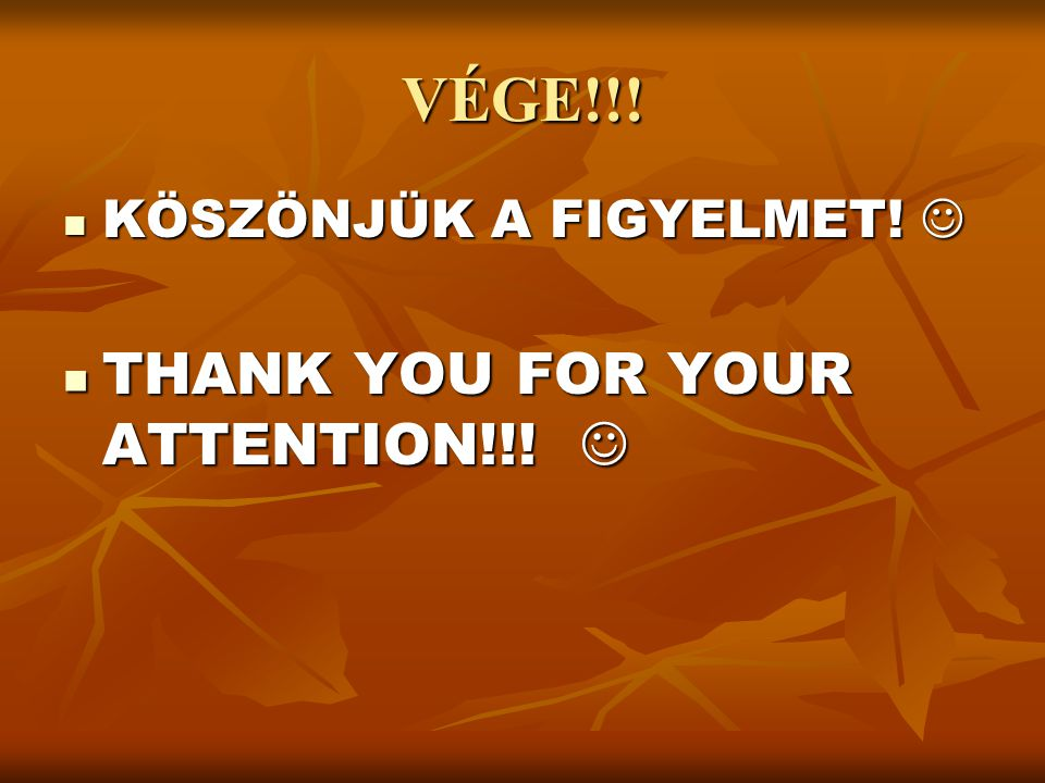 VÉGE!!! KÖSZÖNJÜK A FIGYELMET!  THANK YOU FOR YOUR ATTENTION!!! 