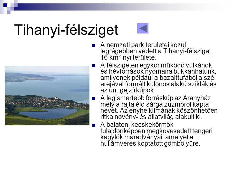 Tihanyi-félsziget A nemzeti park területei közül legrégebben védett a Tihanyi-félsziget 16 km²-nyi területe.