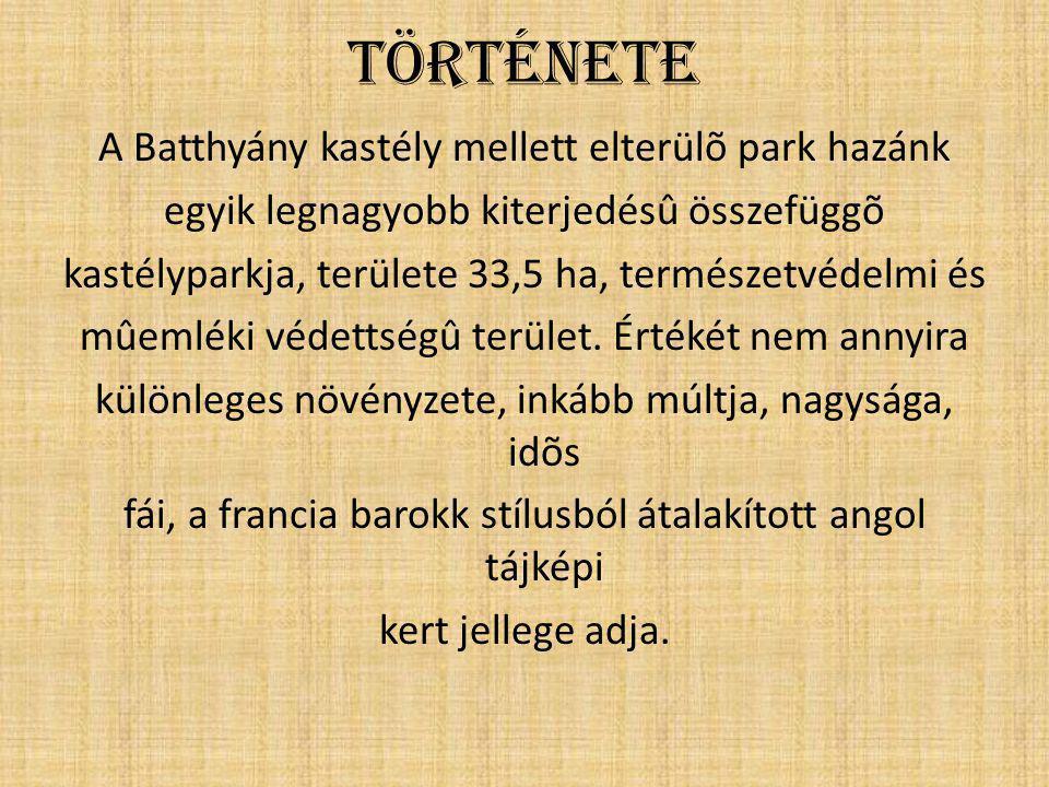Története A Batthyány kastély mellett elterülõ park hazánk