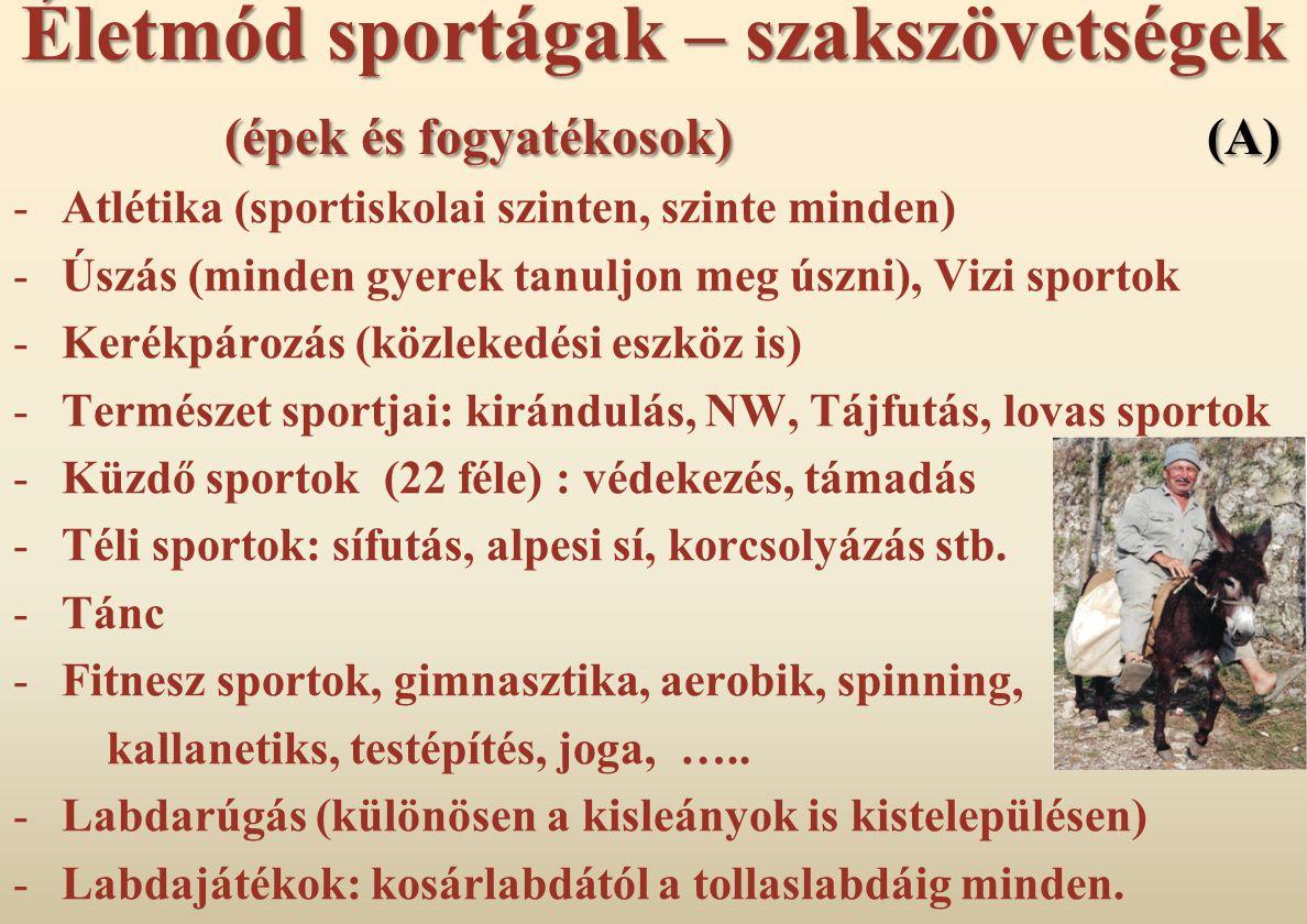 Életmód sportágak – szakszövetségek (épek és fogyatékosok) (A)