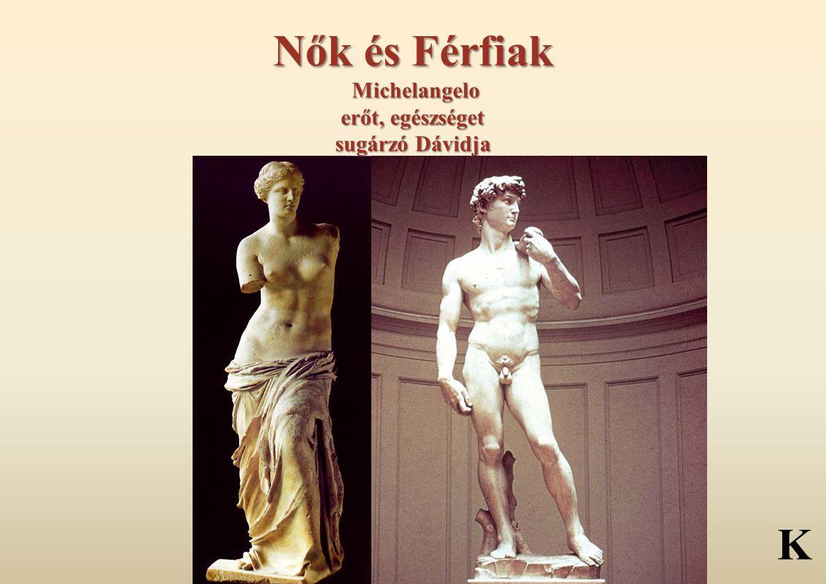 Nők és Férfiak Michelangelo erőt, egészséget sugárzó Dávidja