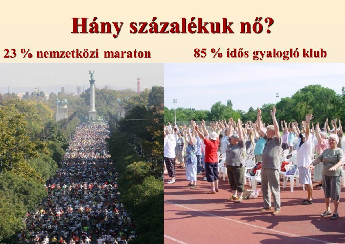 Hány százalékuk nő 23 % nemzetközi maraton 85 % idős gyalogló klub