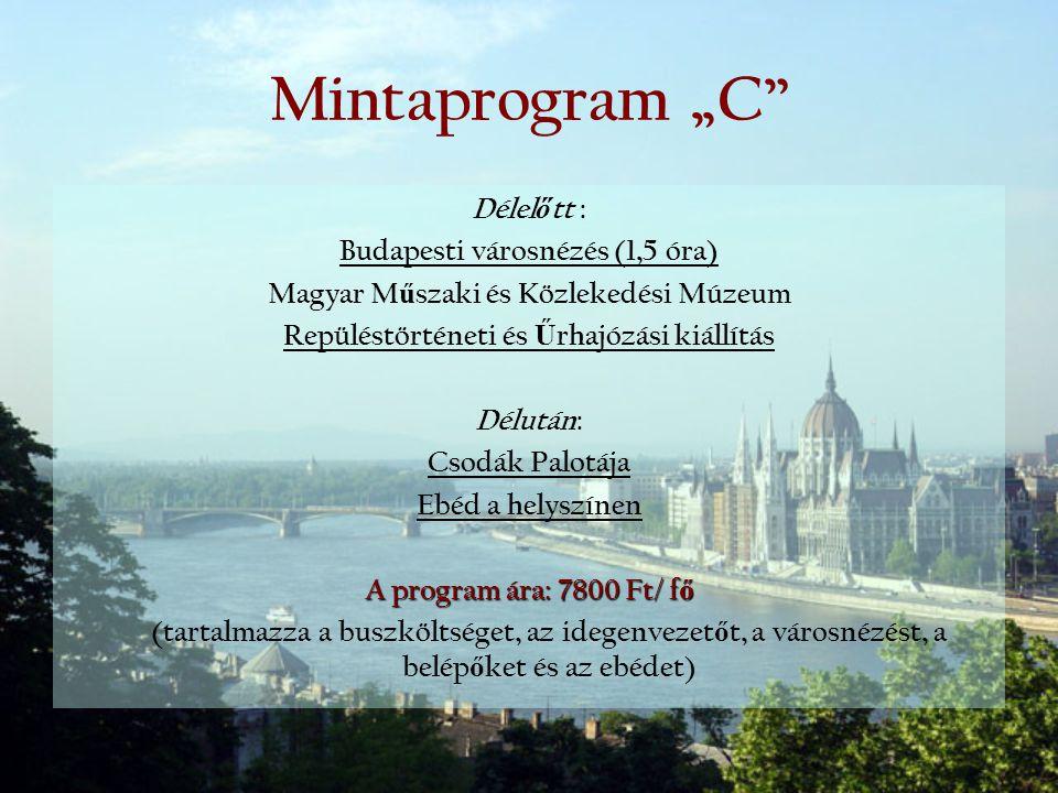 """Mintaprogram """"C Délelőtt : Budapesti városnézés (1,5 óra)"""
