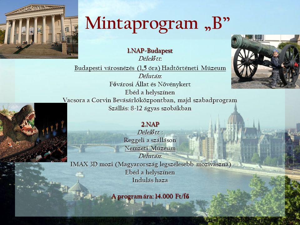 "Mintaprogram ""B 1.NAP-Budapest Délelőtt:"