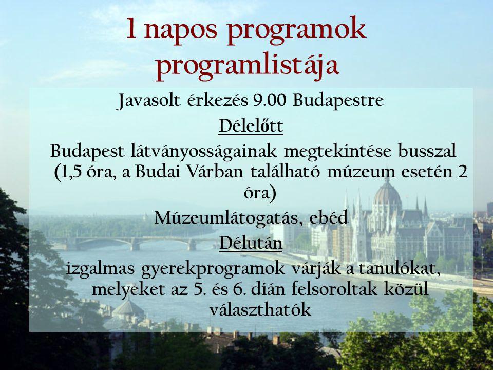 1 napos programok programlistája