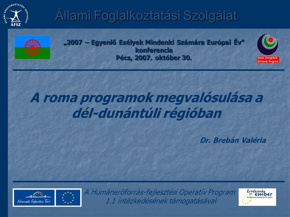 A roma programok megvalósulása a dél-dunántúli régióban