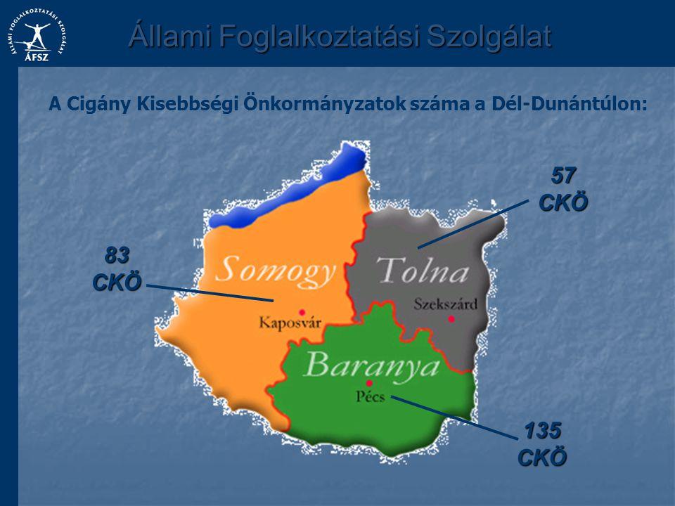 A Cigány Kisebbségi Önkormányzatok száma a Dél-Dunántúlon: