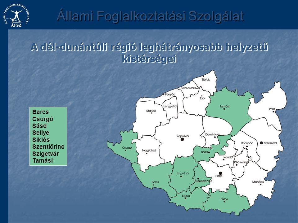 A dél-dunántúli régió leghátrányosabb helyzetű kistérségei